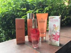 Escada perfume and Wella goodies