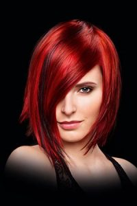 straight bob with amazing red hair colour at elements hair salon in surrey